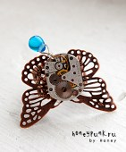 Кольцо Steampunk butterfly blue